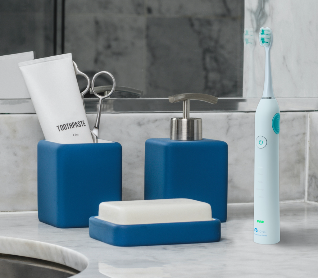 Zana Z Sonic Electric toothbrush in Modern Bathroom with Toothpaste