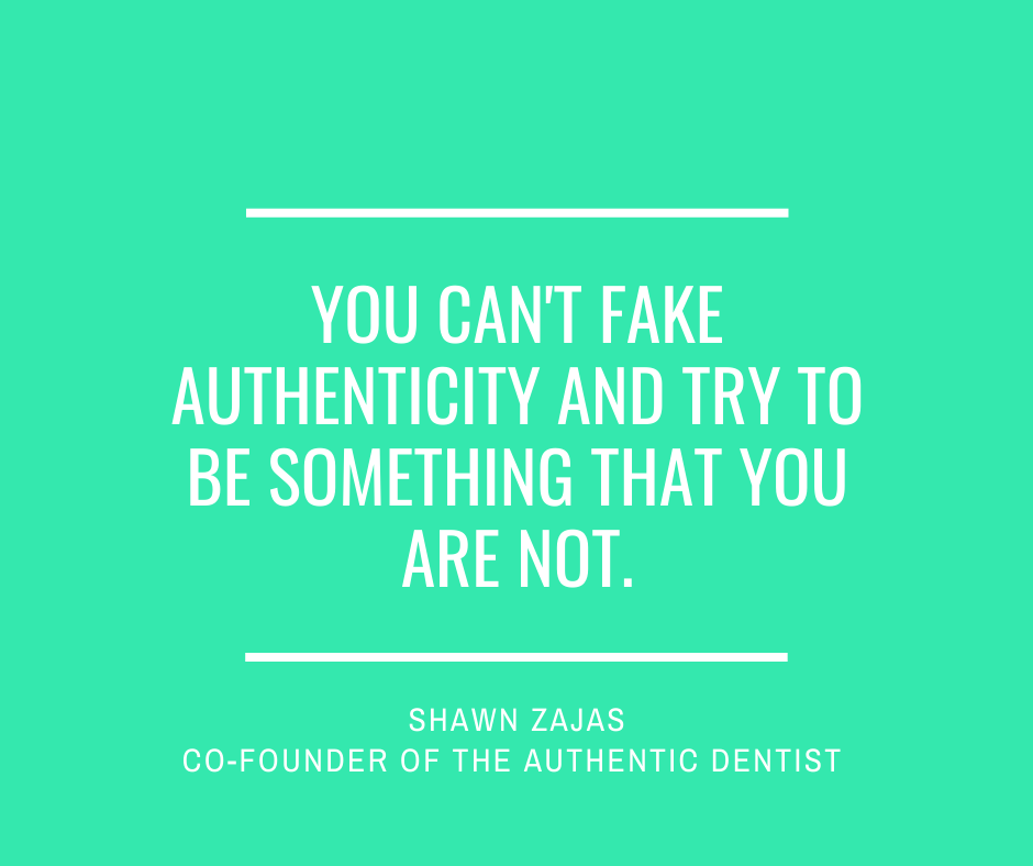 Inspirational Quote for Dentists by Shawn Zajas with White Text and green background